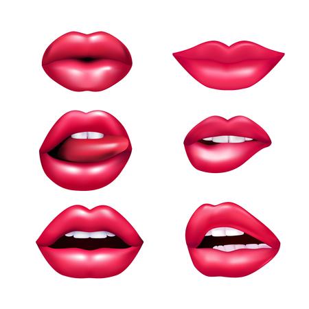 Illustration for Beautiful plush female lips expressing different emotions mimic set isolated on white background realisic vector illustration - Royalty Free Image