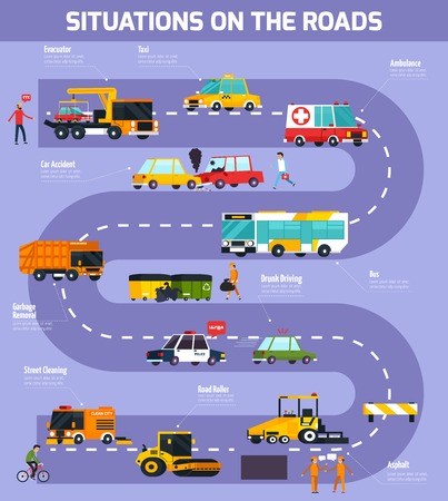Illustration pour Flat vector illustration of situations on roads with road map participants of traffic and service transport - image libre de droit