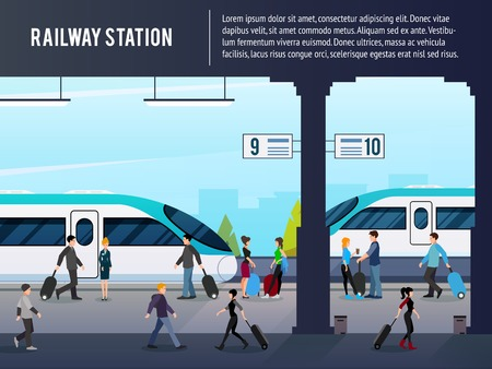 Illustration pour Railway station flat composition with passenger characters on platform with intercity high speed trains with text vector illustration - image libre de droit