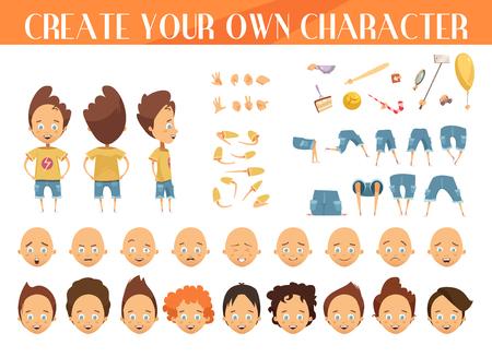 Ilustración de Creation of cartoon character boy set with haircuts emotions legs positions and sports gear isolated vector illustration - Imagen libre de derechos