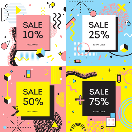 Illustration for Sale concept in memphis style with percentage of discount on background with geometric shapes isolated vector illustration - Royalty Free Image