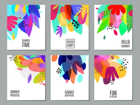Ilustración de Summer time events and actions advertisement 6 bright colorful abstract white backgrounds banners collection isolated vector illustration - Imagen libre de derechos