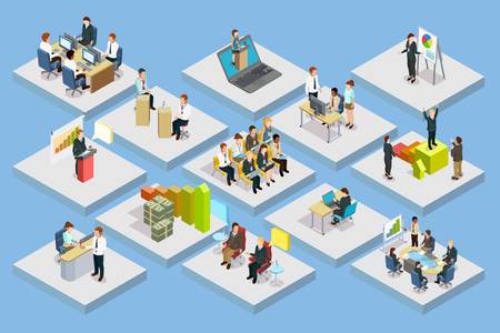 Illustration pour Business training isometric set with staff coaching and learning on gray squares isolated vector illustration - image libre de droit