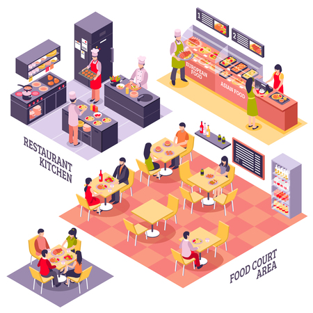 Illustration for Fastfood restaurant interior design conceptual set with isolated isometric storeys of food court area and kitchen vector illustration - Royalty Free Image