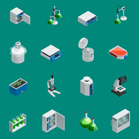 Illustration pour Scientific laboratory equipment isometric icons set with tools for natural research and highly technological devices isolated vector illustration - image libre de droit