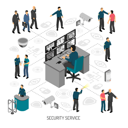 Ilustración de Infographics with flowchart of activity of security service including professional equipment on white background isometric vector illustration - Imagen libre de derechos