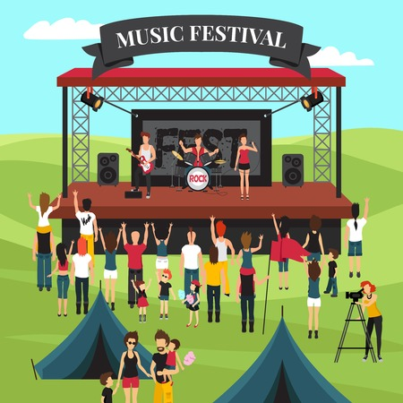 Illustration pour Open air festival background with summer suburban landscape rock band on stage crowd and camping park vector illustration - image libre de droit