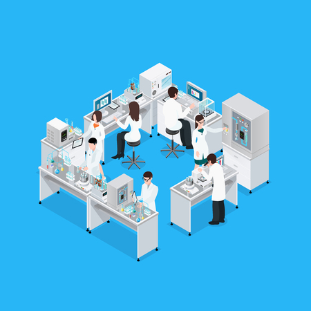 Ilustración de Laboratory isometric composition with workbench research equipment and group of working faceless scientist characters in uniform vector illustration - Imagen libre de derechos