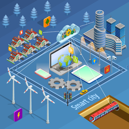 Illustration pour Smart city internet of thing solutions managing safety energy supply communication and transport isometric - image libre de droit