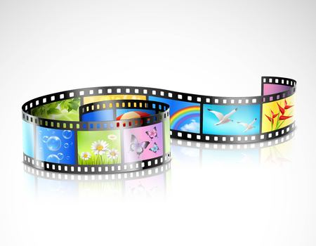 Curved film strip with reflection and colorful images of summer nature