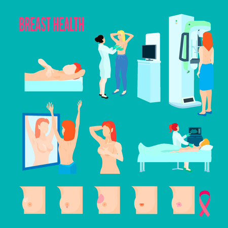 Colored flat and isolated breast disease icon set with different disease and ways to treat and recognize disease