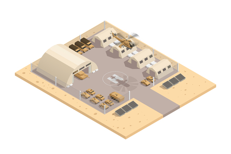 Illustration pour Beige color military isometric composition with with helipad and parking guarded area vector illustration - image libre de droit
