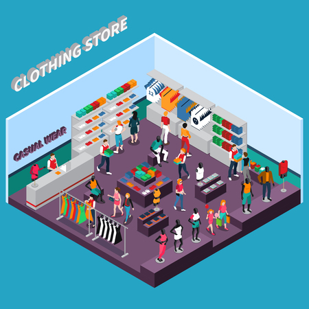 Illustration pour Clothing store isometric composition with customers shelves with goods racks with dresses mannequins in apparel vector illustration - image libre de droit