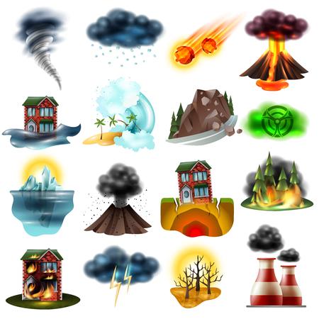 Ilustración de Set of natural disasters including flood earthquake drought wildfire tsunami radiation hail environment pollution isolated vector illustration. - Imagen libre de derechos