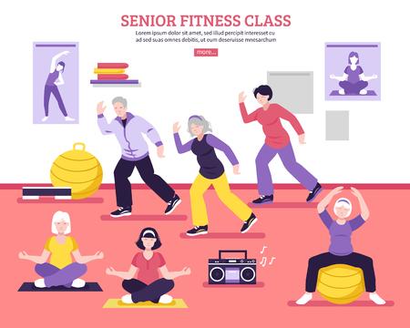 Ilustración de Seniors group fitness class flat webpage design poster with yoga asanas aerobic and balance exercises vector illustration - Imagen libre de derechos