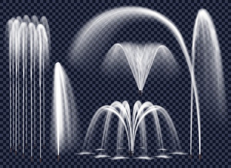 Illustration for Set of realistic fountains with water jets in various geometric combination on transparent background isolated vector illustration - Royalty Free Image