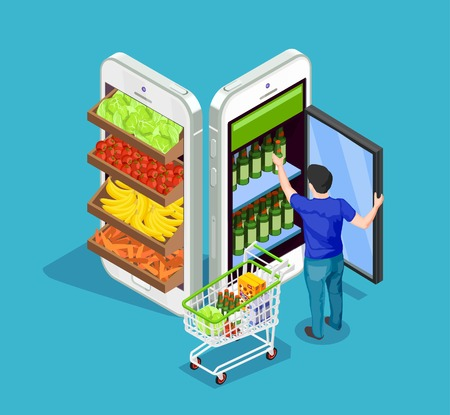 Illustration pour Man with full cart of products taking bottle out of fridge in form of mobile phone on blue background online shopping concept 3d isometric vector illustration - image libre de droit