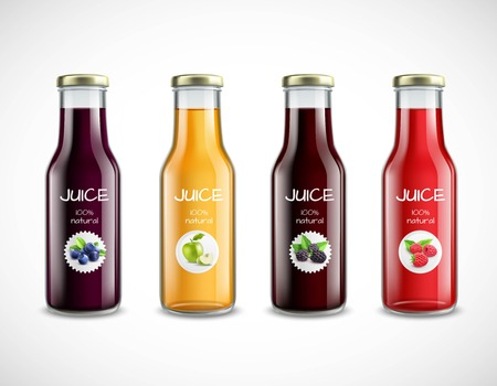 Illustration pour Collection of glossy glass bottles with fruit juice and round labels on white background isolated vector illustration - image libre de droit