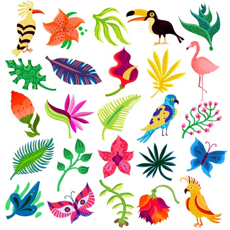 Ilustración de Tropical exotic set of twenty five flat isolated icons with hand drawn style leaves flowers and birds vector illustration - Imagen libre de derechos