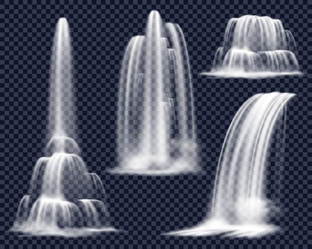 Illustration pour Set of realistic waterfalls including cascading streams of various shape on transparent background isolated vector illustration - image libre de droit