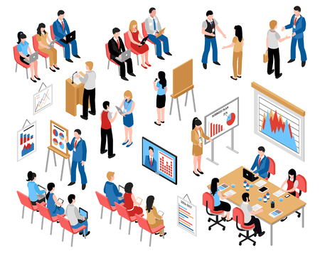 Illustration for Business education and coaching isometric icons set with coming to training and business seminar vector illustration - Royalty Free Image