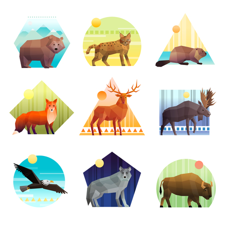 Ilustración de Colorful polygonal emblem of different shape set with wild animals and birds isolated on white background vector illustration - Imagen libre de derechos