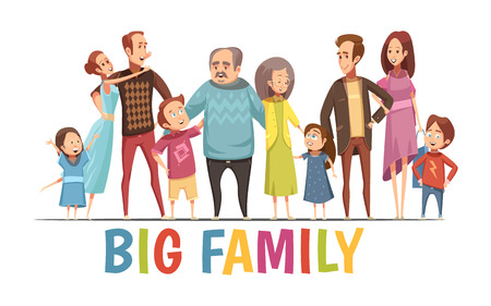 Big happy harmonious family portrait with grandparents two young couples and little children cartoon vector illustrationのイラスト素材