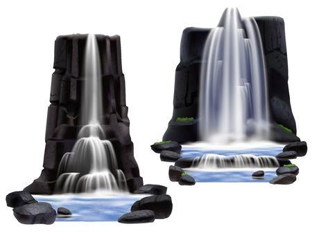 Illustration pour Colored waterfalls realistic composition set for game development and building two different variants vector illustration - image libre de droit