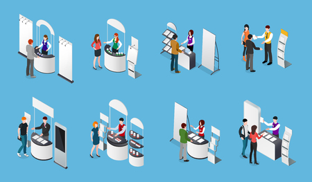 Illustration pour Isometric set of promotional stands and people with products and handout on blue background isolated vector illustration - image libre de droit