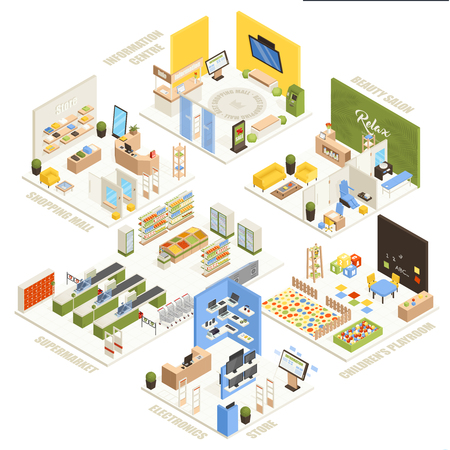 Shopping mall electronics store children playroom information  center supermarket and beauty salon isometric composition poster vector illustration