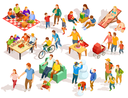 Ilustración de Families spending free time with their children in different places colorful isometric icons set isolated on white background vector illustration - Imagen libre de derechos