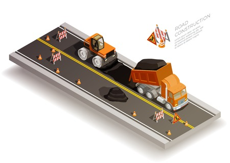 Illustration pour Road construction pit collapse repairs isometric composition with traffic cones signs and road machinery laying asphalt vector illustration - image libre de droit