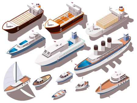 Ilustración de Ships and boats of different size colorful isometric set isolated on white background 3d  vector illustration - Imagen libre de derechos