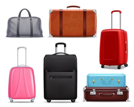 Illustration pour Business and family vacation travel luggage with handbag baggage modern and retro items collection realistic vector illustration. - image libre de droit