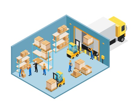 Ilustración de Warehouse inside isometric composition including manager and workers, forklifts, shelves with goods, unloading cargo vector illustration. - Imagen libre de derechos