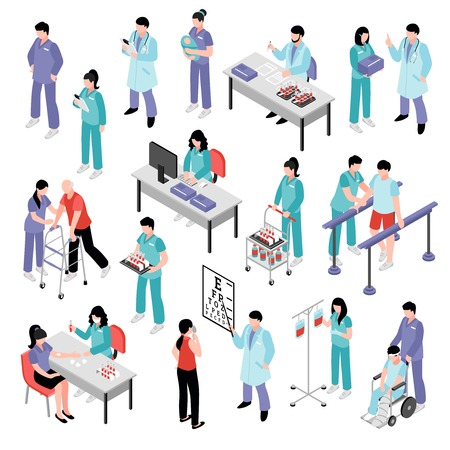 Ilustración de Docters physicians nurses physiotherapist and laboratory assistent attending patients in hospital isometric icons collection isolated vector illustration - Imagen libre de derechos