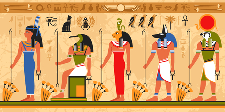 Illustration pour Colored border pattern on egypt theme with ancient egyptian deities and occult symbols flat vector illustration - image libre de droit