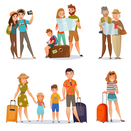 Ilustración de Set of traveling people with baggage and maps including families couples and young woman isolated vector illustration - Imagen libre de derechos