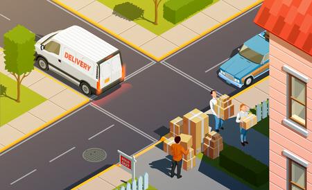 Ilustración de Moving people isometric urban composition with delivery service car and agents carrying goods in carton boxes. - Imagen libre de derechos