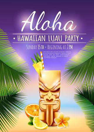 Illustration for Hawaiian luau party poster with tiki mug, citrus fruits, flower, palm branches on blurred background vector illustration - Royalty Free Image