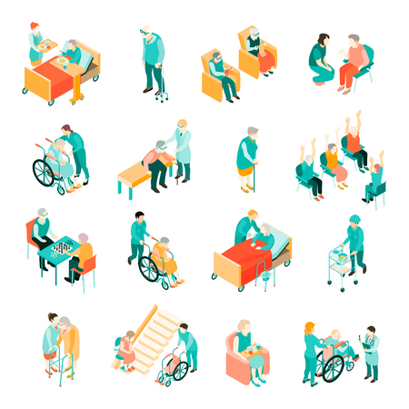 Illustration for Isometric set of elderly people in different situations and medical staff in nursing home isolated vector illustration - Royalty Free Image
