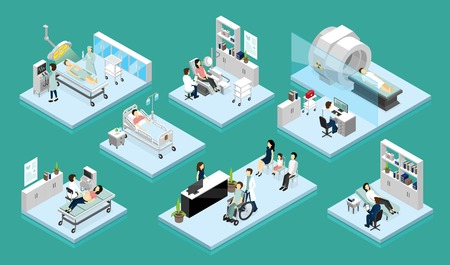 Illustration pour Set of isolated isometric compositions on theme doctor and patient with medical equipment for diagnostic surgery and rehabilitation vector illustration - image libre de droit