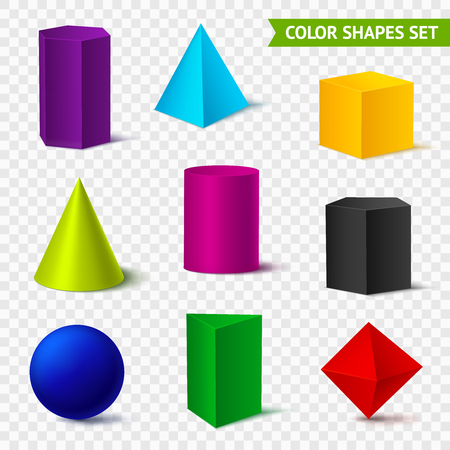 Illustration pour Realistic geometric shapes transparent color set with isolated geometrical objects of different color on transparent. - image libre de droit