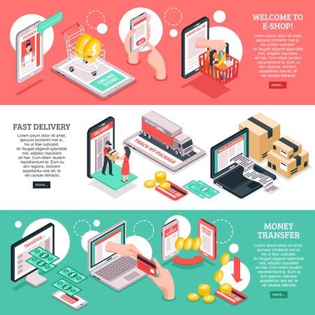 Ilustración de E-commerce online shop webpage 3 isometric banners design with payments and delivery options isolated vector illustration - Imagen libre de derechos