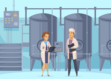 Illustration pour Dairy production cartoon composition with factory workers on background of tanks for milk pasteurization vector illustration - image libre de droit