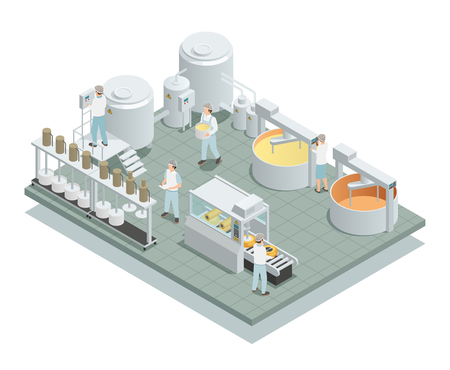 Illustration pour Contemporary cheese production factory floor with automated processing steps and personnel in uniform isometric composition vector illustration - image libre de droit