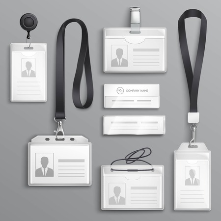Illustration pour Employees identification card id badges holders with  lanyards cord and strap clips black realistic samples set vector illustration - image libre de droit