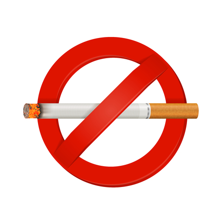 Indoor and outdoor facility no smoking safety sign bright red realistic with smoldering cigarette vector illustration