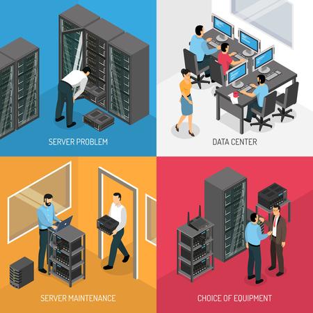 Illustration pour Datacenter 2x2 design concept of square compositions describing choice of equipment and work in server maintenance isometric vector illustration - image libre de droit