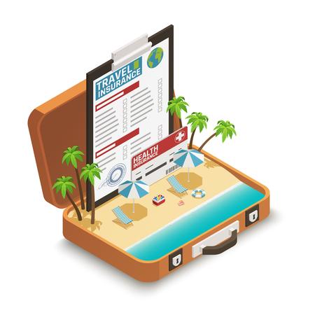 Ilustración de Travel insurance policy certificate advertisement isometric composition with tropical beach inside open vacation suitcase symbol vector illustration - Imagen libre de derechos